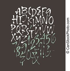 Alphabet letters: uppercase, numbers. Vector alphabet. Hand...