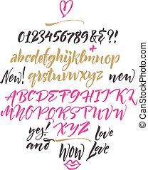 Handwritten script font. Brush font.