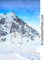 The mountain top station of the Aiguille du Midi in Chamonix and cable car