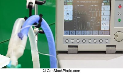 display of warm indications of electrocardiogram and...