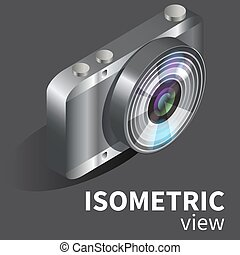 Realistic vector digital camera isometric - Realistic vector...