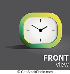 Vector analog realistic desk clock in green palette. Front...