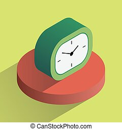 Vector colorful desk clock isometric
