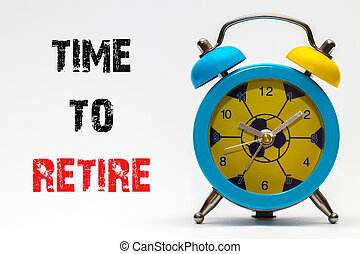 It's time to retire on a white background. Retro alarm clock