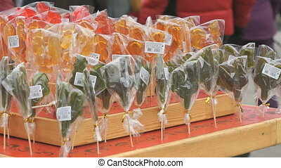 Sweet sugar lollipops near store - Sweet sugar lollipops of...