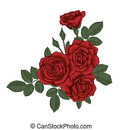 beautiful bouquet with red roses and leaves. Floral...