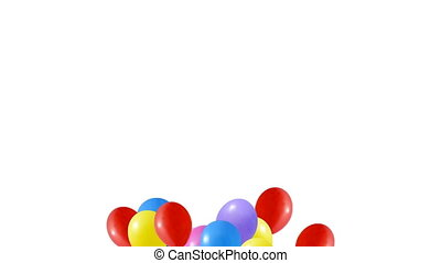 multi colored balloons in the shape of a heart....