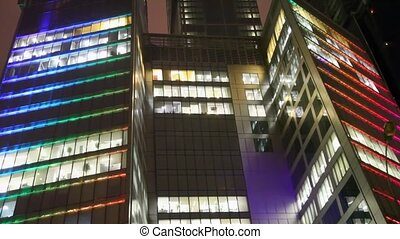 floors of office building centre business in Moscow at night...