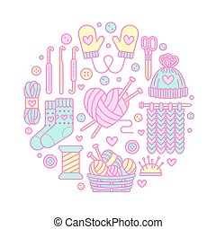 Knitting, crochet, hand made banner illustration. Vector line icon knitting needle, hook, scarf, socks, pattern, wool skeins and other DIY equipment. Yarn or tailor store template