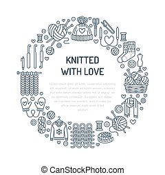 Knitting, crochet, hand made banner illustration. Vector line icon knitting needle, hook, scarf, socks, pattern, wool skeins and other DIY equipment. Yarn or tailor store template with place for text