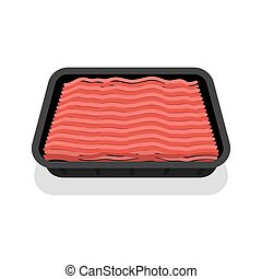 Packed mince meat in black tray, isolated on white...