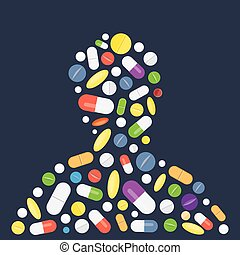 Heap of tablets, capsules and pills. - Different medical...