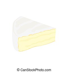 Brie cheese flat icon. vector illustration, on a white...