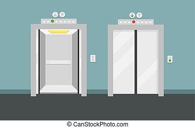 Open and closed elevator doors. Flat design, vector...