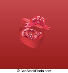 Diamond purple heart. The gift box with a bow on a red background. illustration