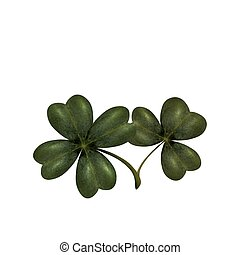 Four and three leaves clover. The symbol of St. Patrick s Day with. Isolated on white background. illustration