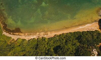 Aerial view tropical lagoon,sea, beach. Tropical island. Catanduanes, Philippines.