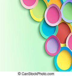Green background with 3d colorful Easter egg