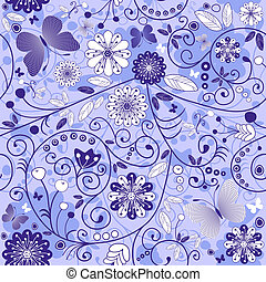 Seamless floral violet-blue pattern with flowers and mosaic...