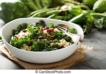 Healthy kale and quinoa salad - Healthy raw kale and quinoa...