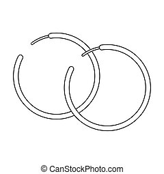 Hoop earrings icon in outline style isolated on white...