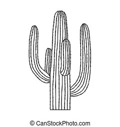 Mexican cactus icon in outline style isolated on white...
