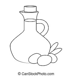 Olive oil bottle with outline olives icon in outline style...