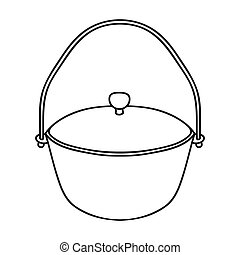 Camping pot icon in outline style isolated on white...