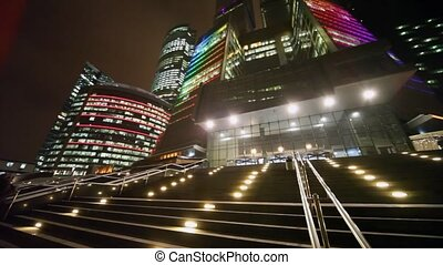 entrance in Moscow business centre with at night