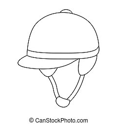 Jockey s helmet icon in outline style isolated on white background. Hippodrome and horse symbol stock bitmap, rastr illustration.