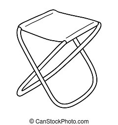 Folding stool icon in outline style isolated on white...