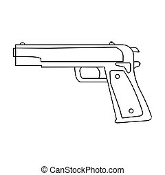 Military handgun icon in outline style isolated on white...