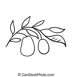 Italian olives from Italy icon in outline style isolated on...