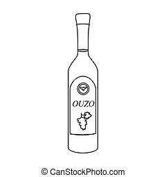 Bottle of ouzo icon in outline style isolated on white...