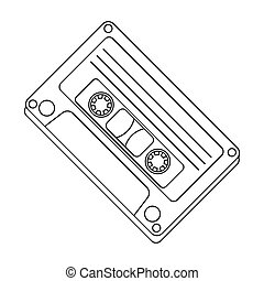 Audio cassette icon in outline style isolated on white...