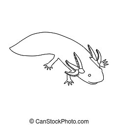 Mexican axolotl icon in outline style isolated on white...