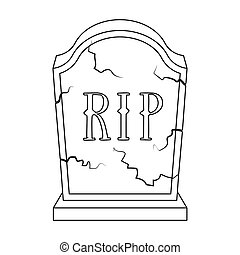 Headstone icon in outline style isolated on white...