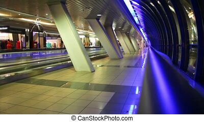 trading-foot bridge in Moscow with pavilions and travelator...