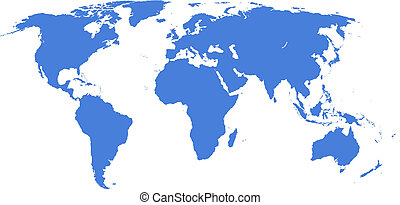 word map  - Illustration of world map on blue background