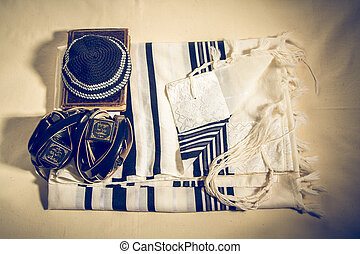 Talit, Kippah, Tefillin and Siddur, jewish ritual objects -...