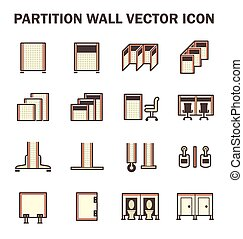 Partition wall icon - Vector icon of partition wall or...