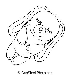 Toy rabbit icon in outline style isolated on white...