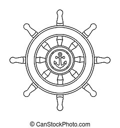 Wooden ship steering wheel icon in outline style isolated on...