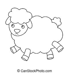 Toy sheep icon in outline style isolated on white...
