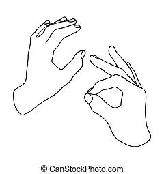 Sign language icon in outline style isolated on white...