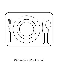 Served table icon in outline style isolated on white...