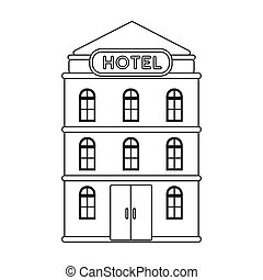 Hotel building icon in outline style isolated on white...