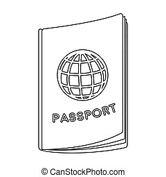 Passport icon in outline style isolated on white background....