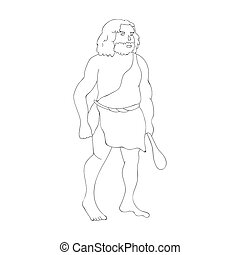 Primitive man with truncheon icon in outline style isolated...