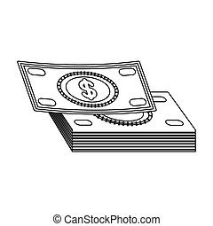 Pile of cash icon in outline style isolated on white...